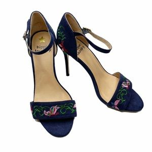 Hippie Laundry Blue Embroidered Floral Heels